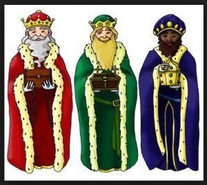 Melchor, Gaspar y  Baltasar son los Reyes Magos. A  Jesús le trajeron oro, incienso y mirra. A los niños les traen regalos.