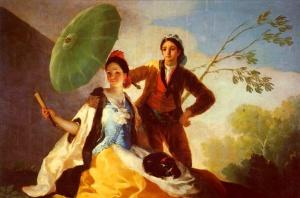 El quitasol (1977) Aquí vemos una 'tarjeta de visita de Goya&#039. En este momento tiene 30 años; se trata de un cartón para diseño de tapices muy bien acabado. Representa una idealización moderna  e inventada por Goya, de un hombre y una mujer vestidos con trajes tradicionales. Esta idealización es comparable a la que encontramos en las figuras de la Roma y Grecia clásica, pero con un barníz nuevo. Los personajes son denominados 'majo' y 'maja'. Curiosamente 'ser majo'  o 'ser maja' quiere decir ser simpático, agradable.