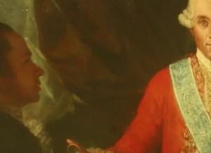 Goya con la boca semi-abierta ante el Conde