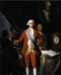 Retrato del Conde de Floridablanca, primer ministro de Carlos III. Goya se retrata también,  admirativo ante el Conde. Es un golpe de marketing excelente.