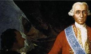 Goya admirativo ante el  Conde de Floridablanca. Goya se sitúa más bajo que el Conde, y su  persona está en la sombra.