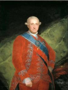 Carlos IV de Borbón, rey de España, 1789. El rey es retratado en rojo, símbolo de poder. El retrato le muestra con una expresión amable y afable.