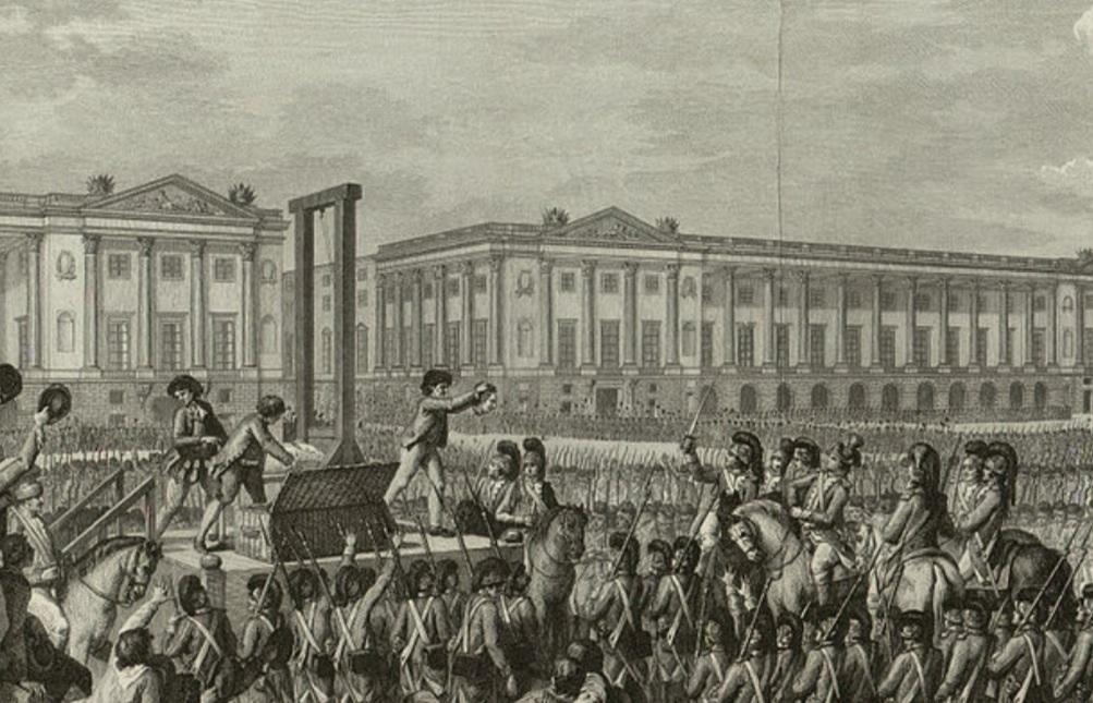 Ejecución por la guillotina de Luis XVI de Borbón de F rancia, 1793.