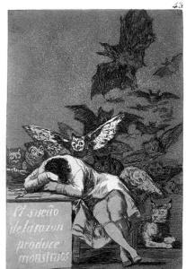 El sueño de la razón produce monstruos., 1799. Este ' Capricho' de  Goya es publicado en una revista. El título tiene una doble interpretación: la palabra 'sueño' quiere decir 'algo que sueñas, que te imaginas', pero también quiere decir 'estar dormido, no estar despierto'.