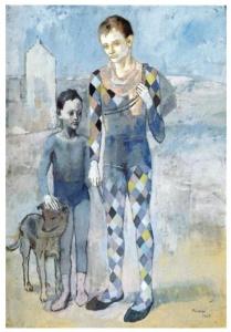 Dos saltimbanquis y un perro (1907). Paso del periodo azul al rosa.