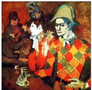 Au Lapin agile (Picasso 1905). Los arlequines también van al café!