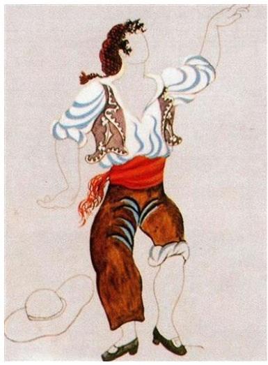 Diseño de traje para la obre ' el sombrero de tres picos' (Picasso 1917)