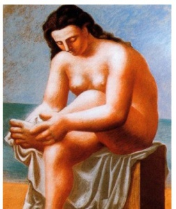 Desnudo sentándo,  secándose los pies (Picasso 1921)