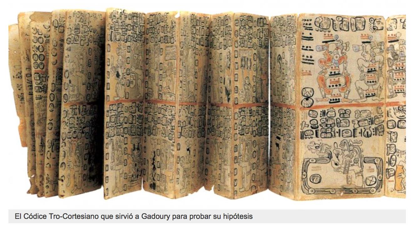 Este documento se llama 'Pro-códice maya'. En él se encuentran las constelaciones de las estrellas, según los mayas